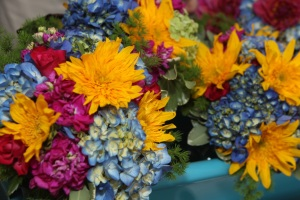 Mered bridesmaid fuchsia yellow blue bouquets